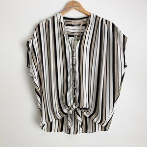 Alythea Taupe Striped Button/Tie Front Blouse M